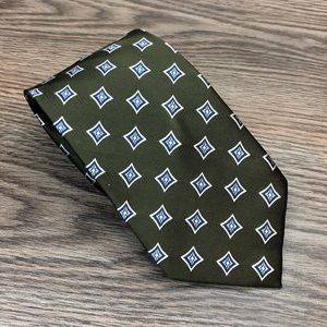 Jos A Bank Olive w/ Blue & White Check Tie